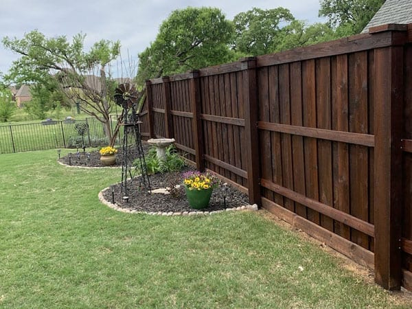 After staining a fence