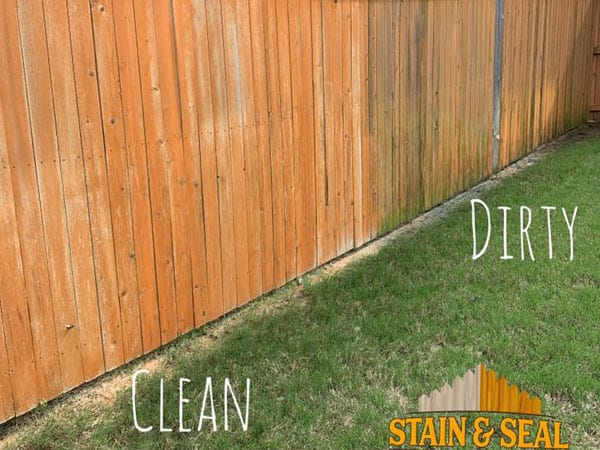 Fence in the process of being cleaned