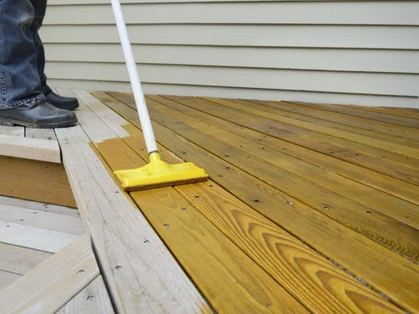 Staining a deck