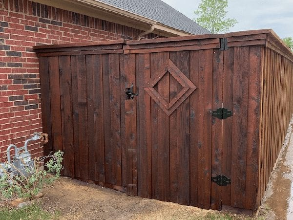Newly stained fence
