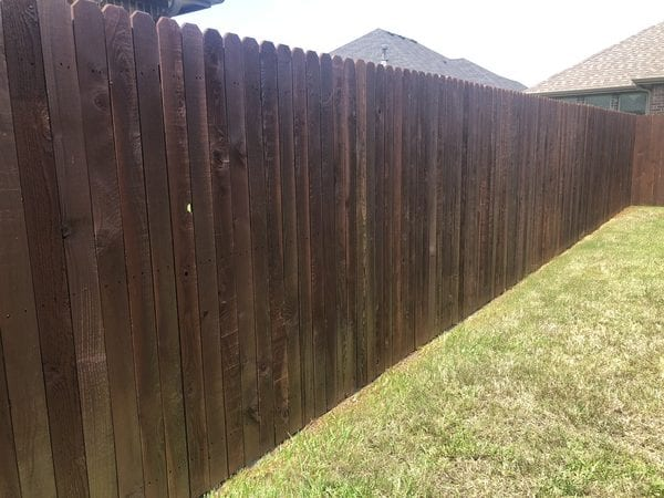 After the fence staining is done