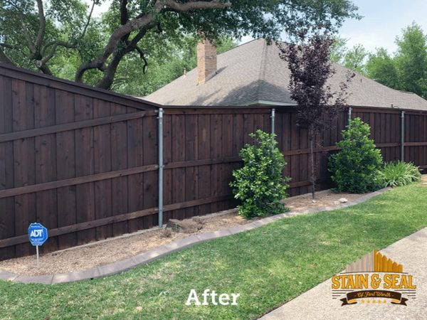 After staining a fence a dark brown