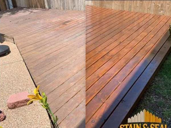 Before and after staining a deck